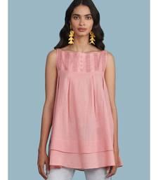 Pink Cotton Sleeveless Top