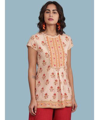 Peach Floral Print Short Sleeve Top