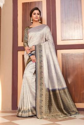 Shaily Women's Grey & Navy Blue Silk Blend Woven Zari Saree