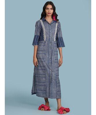 Blue Printed Cotton 3/4 Sleeve Kurta