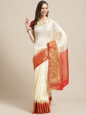 Shaily Women's Off White & Red Silk Blend Woven Zari Saree