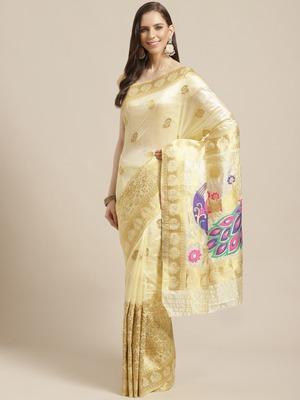 Shaily Women's Off White Silk Blend Woven Zari Saree