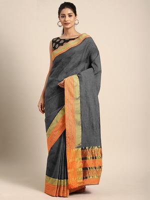 Shaily Women's Grey Cotton Blend Woven Zari Saree