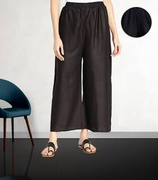 Fabclub Women Rayon Solid Plain Free Size Palazzo (Black)