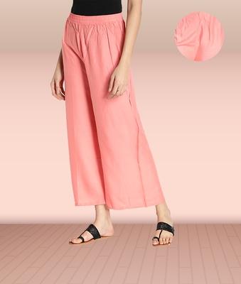 Fabclub Women Rayon Solid Plain Free Size Palazzo (Peach)
