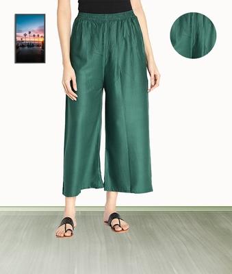 Fabclub Women Rayon Solid Plain Free Size Palazzo (Dark Green)