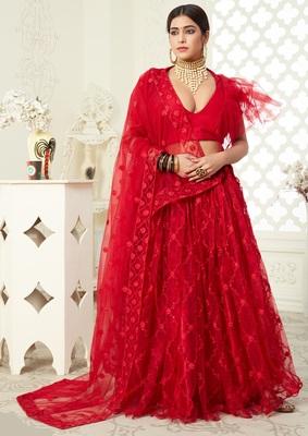 Red thread embroidered net semi stitched Bridal lehenga