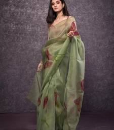 Light olive printed organza saree with blouse