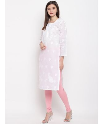Ada Hand Embroidered White Cotton Lucknow Chikankari Kurti For Women  A100292