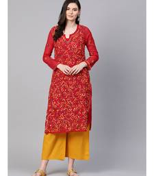 Ada Hand Embroidered Red Faux Georgette Lucknow Chikankari Kurti With slip For Women  A100348
