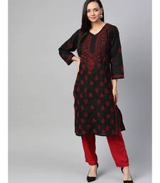 Ada Hand Embroidered Black Cotton Lucknow Chikankari Kurti For Women - A100407