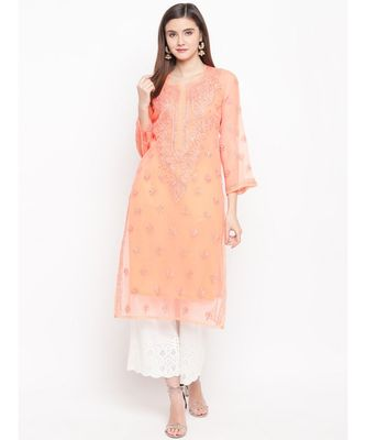 Ada Hand Embroidered Peach Faux Georgette Lucknowi Chikankari Kurti With Slip For Women-A100280