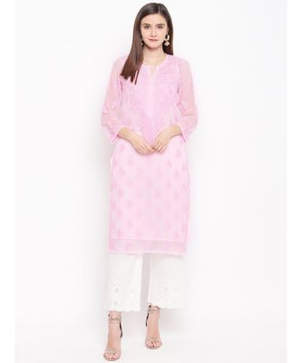 Ada Hand Embroidered Pink Faux Georgette Lucknowi Chikankari Kurti With Slip For Women- A100282