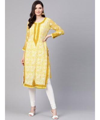 Ada Hand Embroidered Yellow Faux Georgette Lucknow Chikankari Kurti with Slip For Women A100377