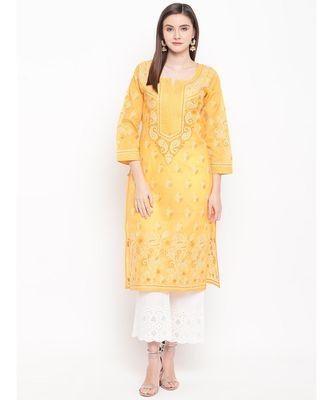 Ada Hand Embroidered Mustard Cotton Lucknow Chikankari Kurti For Women100283