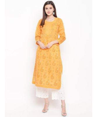 Ada Hand Embroidered Mustard Cotton Lucknowi Chikan Kurti For Women - A100298