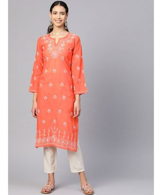 Ada Hand Embroidered Rust Cotton Lucknow Chikankari KurtI For Women-A100361