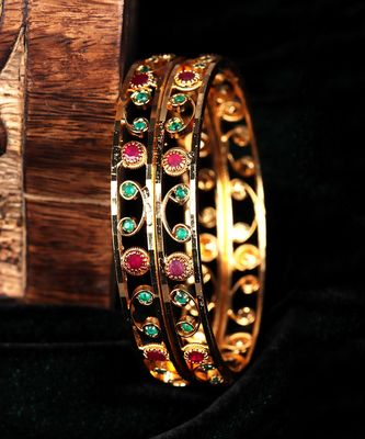 Gold Plated Stone Studded Set of Two Bangles