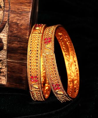 Gold Plated Set of Two Bangles