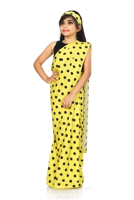 Kids Readymade Yellow Saree With Blouse For Girls