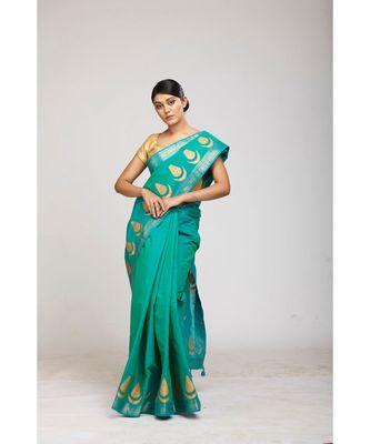 turquoise cotton sarees