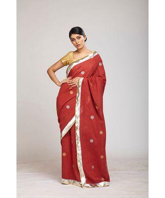 maroon jute sarees