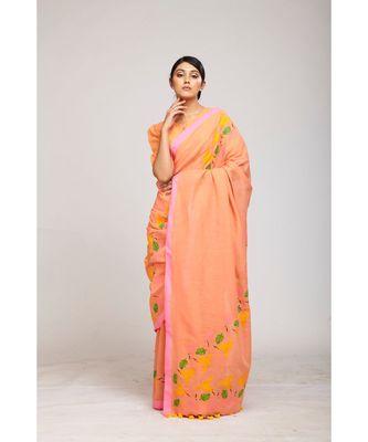 peach cotton sarees