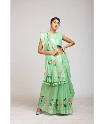 green cotton sarees