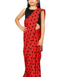 Kids Red Readymade Saree With Black Blouse For Girls