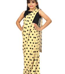 Kids Yellow Saree With Blouse For Girls