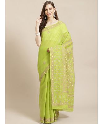Ada Hand Embroidered Green Cotton Lucknow Chikan Saree With Blouse-A311204