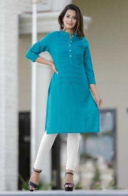 Green plain cotton cotton-kurtis