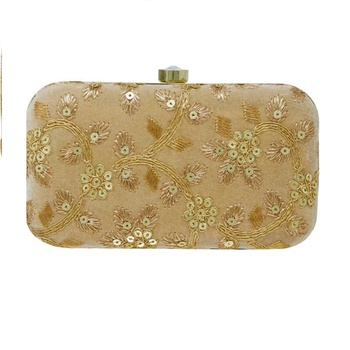 Handicraft Partwear Hand Embroidered Box Clutch Bag Purse For Bridal, Casual, Party, Wedding - Gold