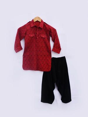 Red Printed Kurta with Black Salwar