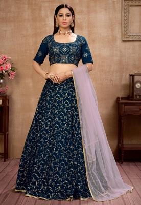 Blue foilage print georgette semi stitched bridal lehenga