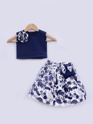 Blue Lycra Top with Printed Skirt