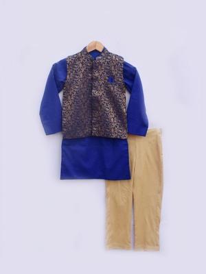 Brocade Nehru Jacket with Blue Kurta and Pant