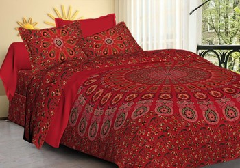 Ashnit 220 TC Cotton Double Jaipuri Mandela Print Bedsheet (Pack of 1, Red)