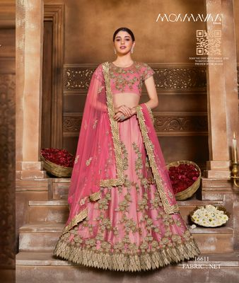 Red embroidered  net stitched lehenga