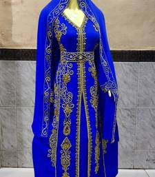 Blue embroidered Stone Work Georgette Islamic Style Beads Embedded Partywear Kaftan Long Gown Evening wear Dubai kaftan