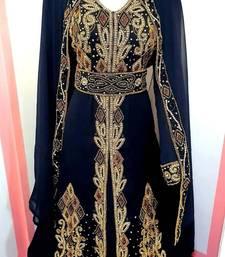 Navy Blue Zari Stone Work Georgette Islamic Style Beads Embedded Partywear Kaftan Long Gown Evening wear Dubai kaftan