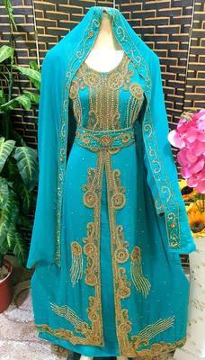 Blue/firozi Zari Stone Work Georgette Islamic Style Beads Embedded Partywear Kaftan Long Gown Evening wear Dubai kaftan
