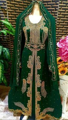 Green Zari Stone Work Georgette Islamic Style Beads Embedded Partywear Kaftan Long Gown Evening wear Dubai kaftan