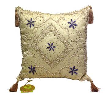 Sequined Beaded Cushion Cover Pearl