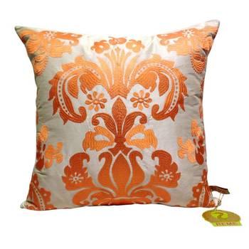 Damask Pattern Cushion Cover Orange
