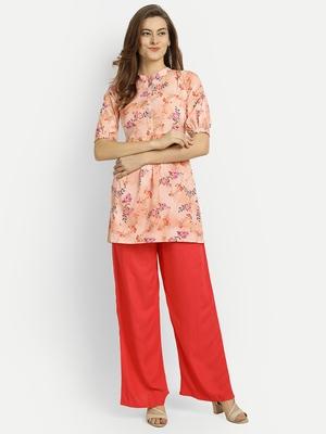 Orange printed crepe party-wear-kurtis