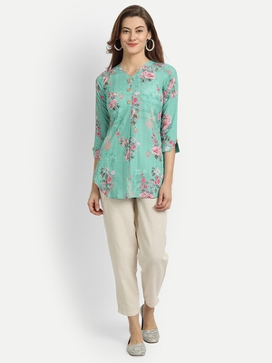 Turquoise printed crepe party-wear-kurtis