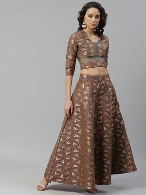Brown woven art silk stitched lehenga