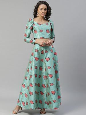 Turquoise woven art silk stitched lehenga