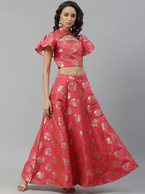 Pink woven art silk stitched lehenga